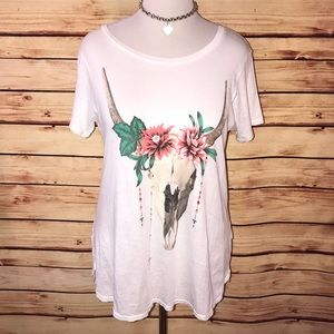 🆕 Wildfox Floral Cow Skull Tunic Tee